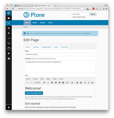 Edit the Plone front-page in pip