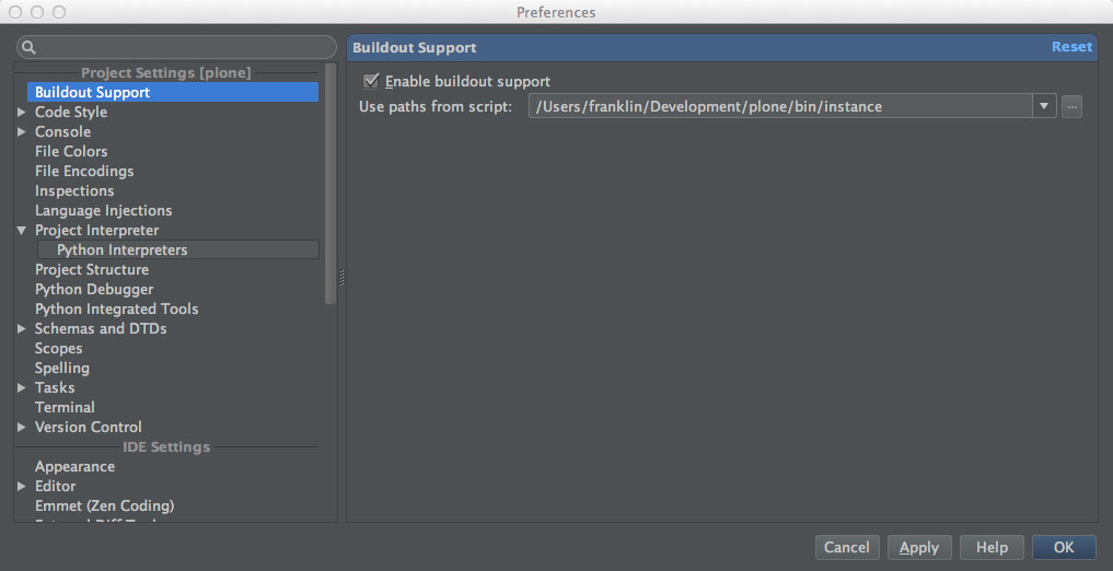 PyCharm Buildout Support