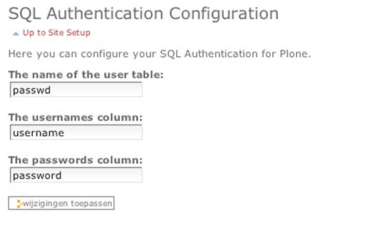 SQL Authentication Configuration Screen