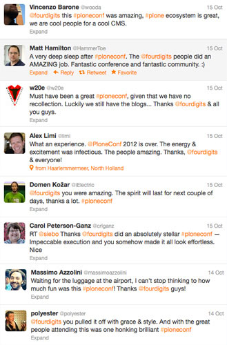 Twitter Complements Plone Conf 2012